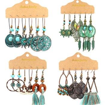 Multiple Boho Ethnic Dangle Drop Earrings for Women Female Fashion 2020 Women's Earrings Sets Ornament Charm Jewelry Accessories