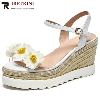 RIBETRINI New Women Summer Platform Shoes Women Open Toe Floral Wedges Fashion Beach Sandals Brand Sandals
