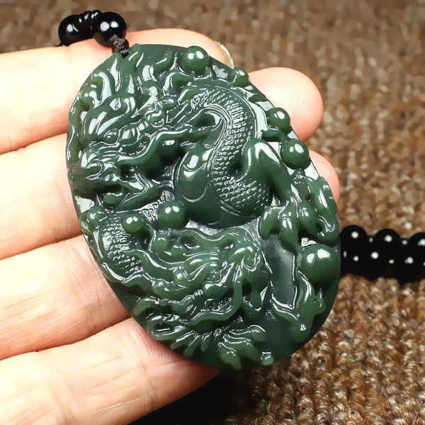 ธรรมชาติ Hetian หยกมังกรจี้สร้อยคอลูกปัดจีน Jadeite เครื่องประดับ Charm Reiki Amulet แกะสลักของขวัญสำหรับผู้หญิงผู้ชาย