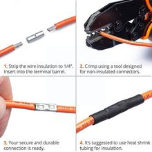 Assorted Insulated Crimp Terminals Electrical Wire Butt Connectors Butt Kit Cable Connectors Crimping Non Terminal Insulate R7Y7