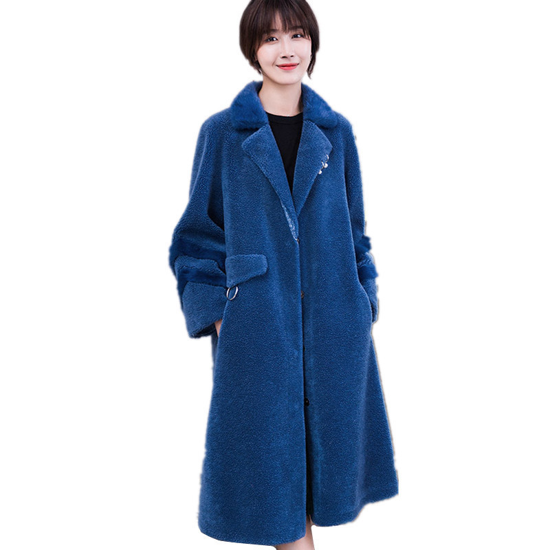 Luxury 2020 Real Wool Fur Coat Female Long Lamb Fur Coats Warm Winter Jacket Women Natural Mink Fur Collar 18037 WYQ1795 S