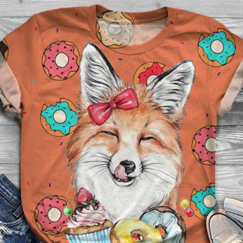 Cartoon Esel Gedruckt T-shirt Frauen Kurzarm O-ansatz Animal-Print Casual Weibliche T-shirts Damen 2020 Sommer Streetwear Tops