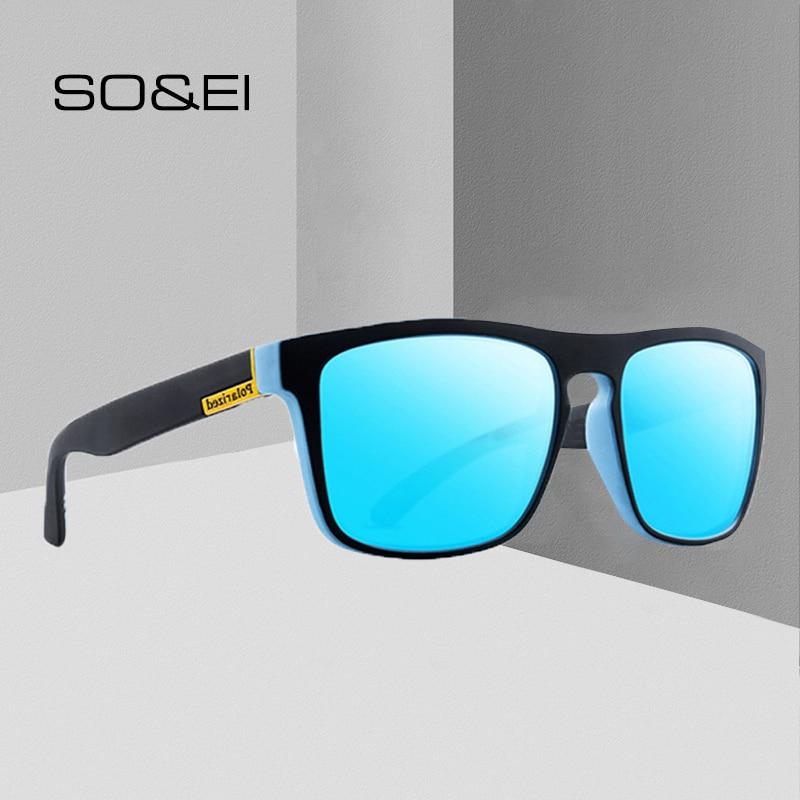 SO&EI Fashion Polarized Sunglasses Brand Designer Men Outdoor Sports UV400 Driving Goggles Men Sun Glasses Gafas De Sol