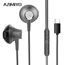 Azimiyo Loại C Tai Nghe Nhét Tai Có Dây Điều Khiển Tai Nghe In Ear Thể Thao Tai Nghe USB C Jack Âm Nhạc Stereo Tai Nghe Nhét Tai Có Mic Cho Xiaomi 9 Pro 8 Huawei