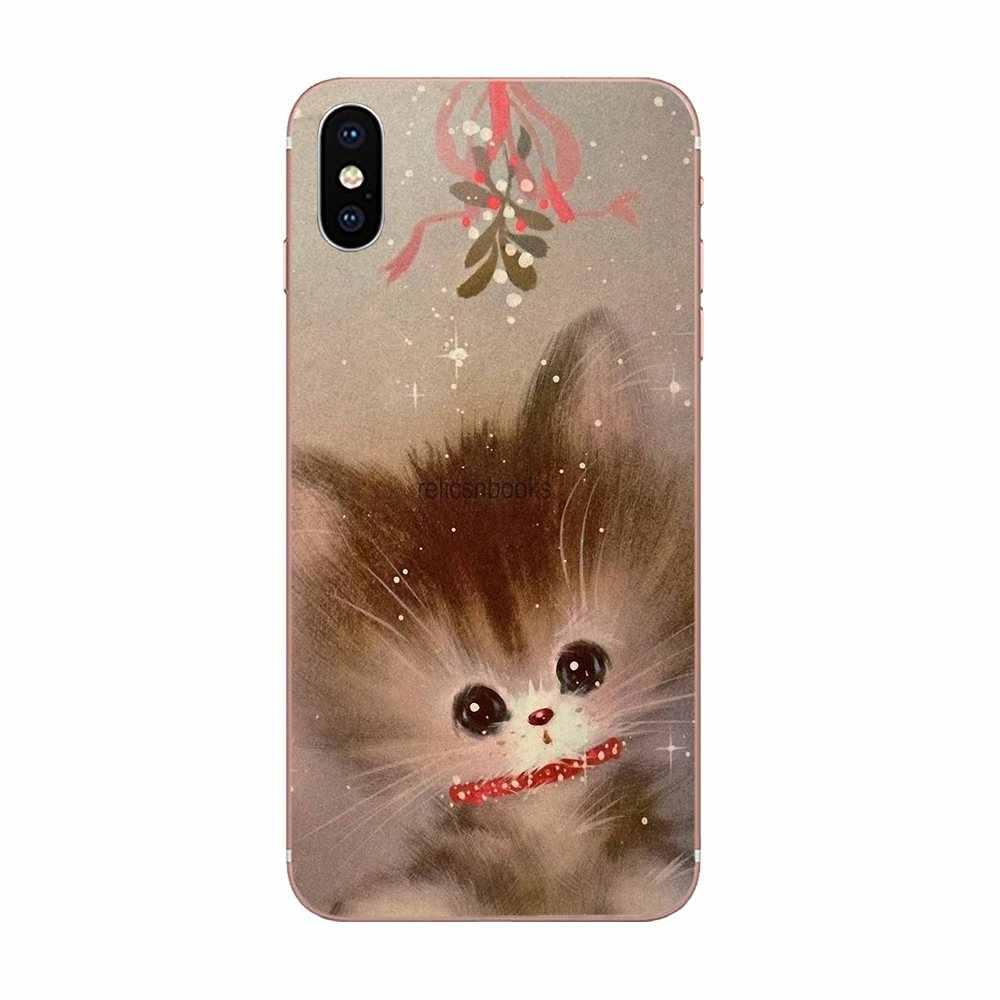 Skóra TPU obudowa do Xiaomi mi 3 mi 4 mi 4C mi 4i mi 5 mi 5S 5X6 6X8 SE Pro Lite A1 Max mi x 2 uwaga 3 4 w stylu Vintage Kitty boże narodzenie