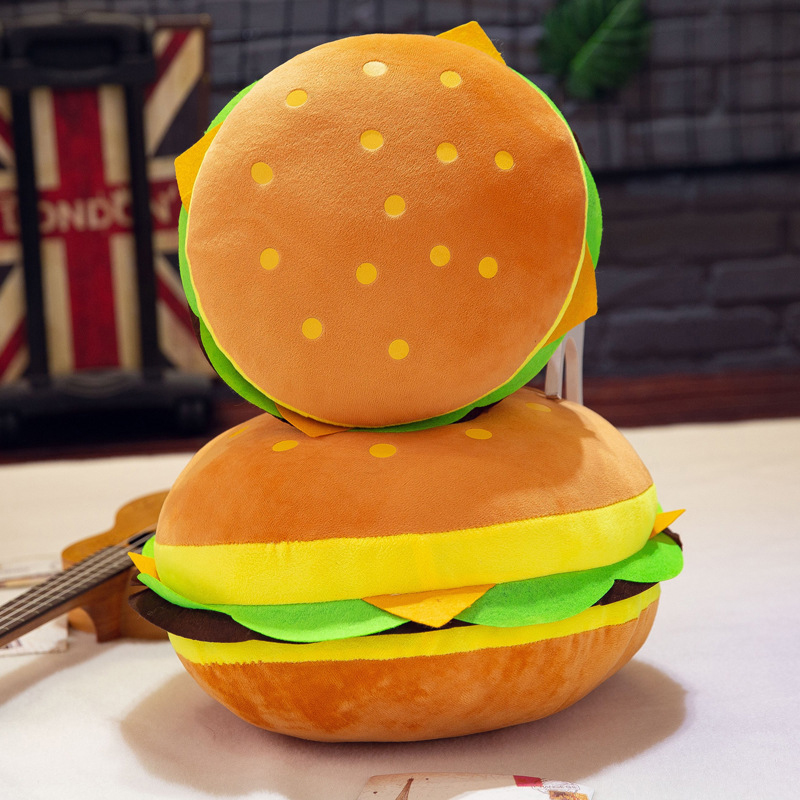 Baby Creative Pillow Hamburger Plush Office Cushion Cute Burger Spoof Pillow Soft Plush Padded Toy Cushion Birthday Gift For Kid