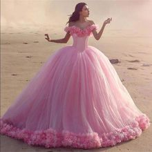 Quinceanera Dress Pink Ball Gown 3D Flowers Princess Corset Tulle Sparkles Sweet