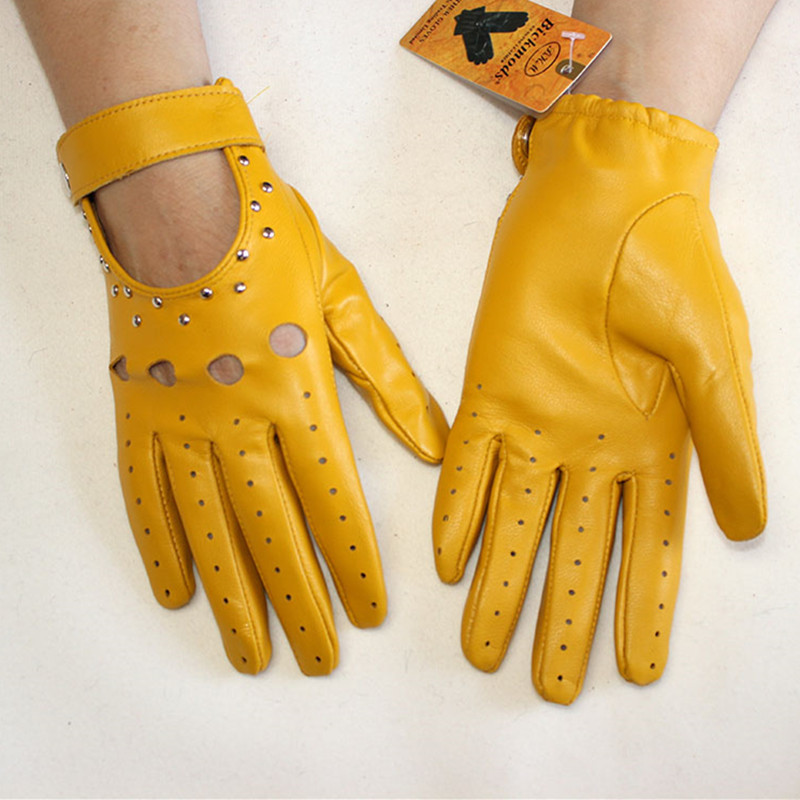Goatskin Driving Driver Leather Gloves Women's Thin Outdoor Motorcycle Riding Fashion Hollow Rivet Spring Summer