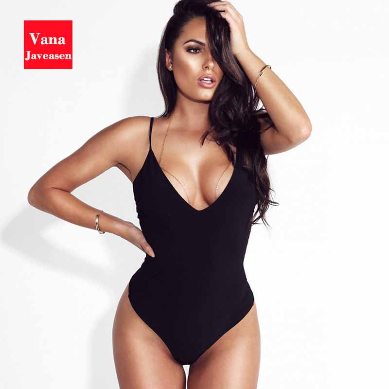 Vana Javeasen Sexy Spaghetti Strap Bodysuit Women V-neck Backless Jumpsuit Women's Elasticity Slim Black Catsuit Bodysuits Thong
