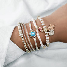 Fashion Blue eyes Charm Turkey Bracelet Bangles For Women Multiple beaded palms heart pendant Bracelets Sets Jewelry Party Gifts(China)