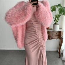 Женский розовый свитер вязаный куртки осень зима корейский Свободный
