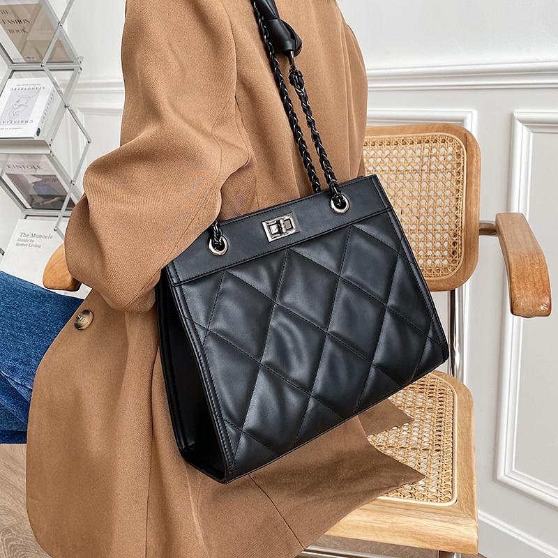с доставкой High Capacity PU Leather Crossbody Bag 2021 Shoulder Bag Branded Designer Women Bags Lux Tote Bag Quality Handbags