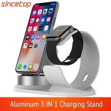 3 em 1 suporte de carregador de alumínio para apple watch estação de carregamento doca para iphone 11pro/xs/xs max/xr/8 plus/7/6s para airpods 2 pro