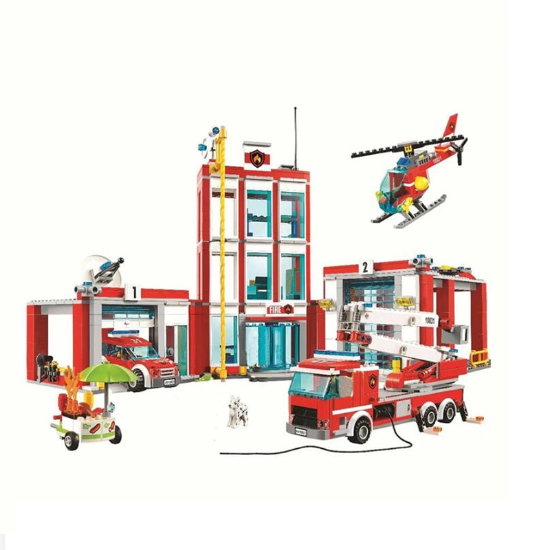 New City Series The Fire Station Model Building Block Brick Toy For Children Legoinglys Christmas Birthday Gift 60110