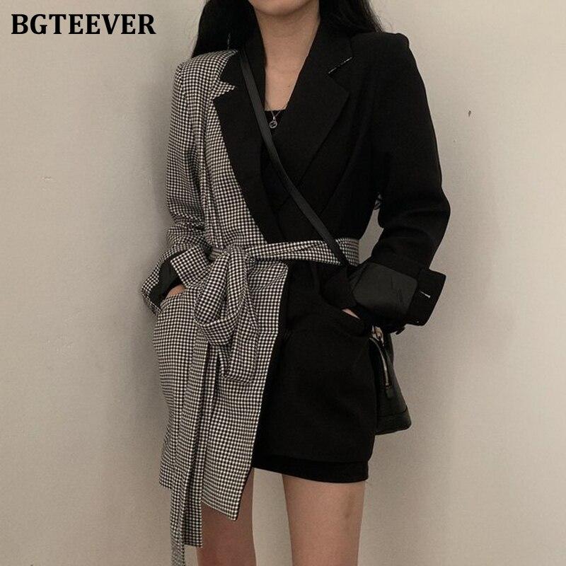 BGTEEVER Fashion Irregular Women Blazer Office Ladies Belt Suit Jacket Plaid Patchwork Women Coat Outwear Blaser Femme 2019