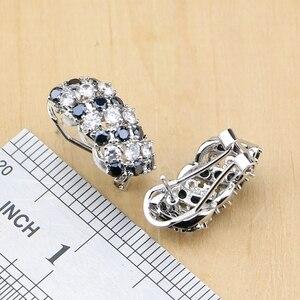 Image 4 - Prata 925 jóias preto e branco cz conjuntos de jóias para mulheres brincos/pingente/anéis/pulseira/colar conjunto