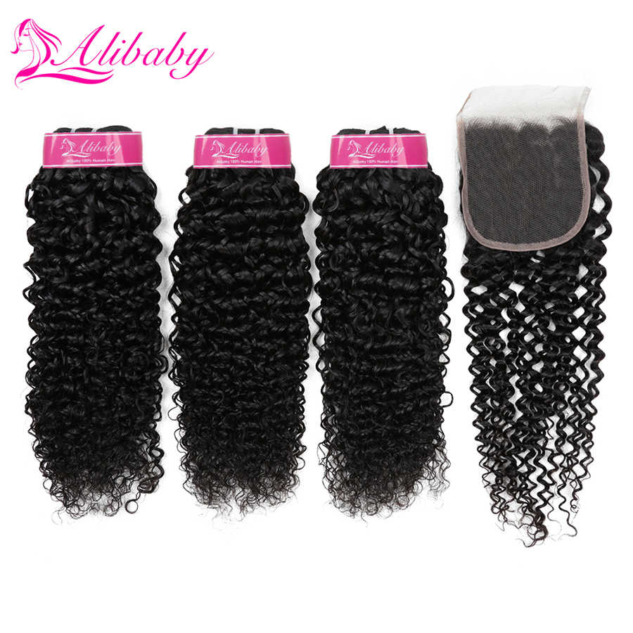 Alibaby Jerry Curl Human Hair Peruvian Hair Bundles With Closure Non Remy Hair Extensions Human Hair Bundles With Closure