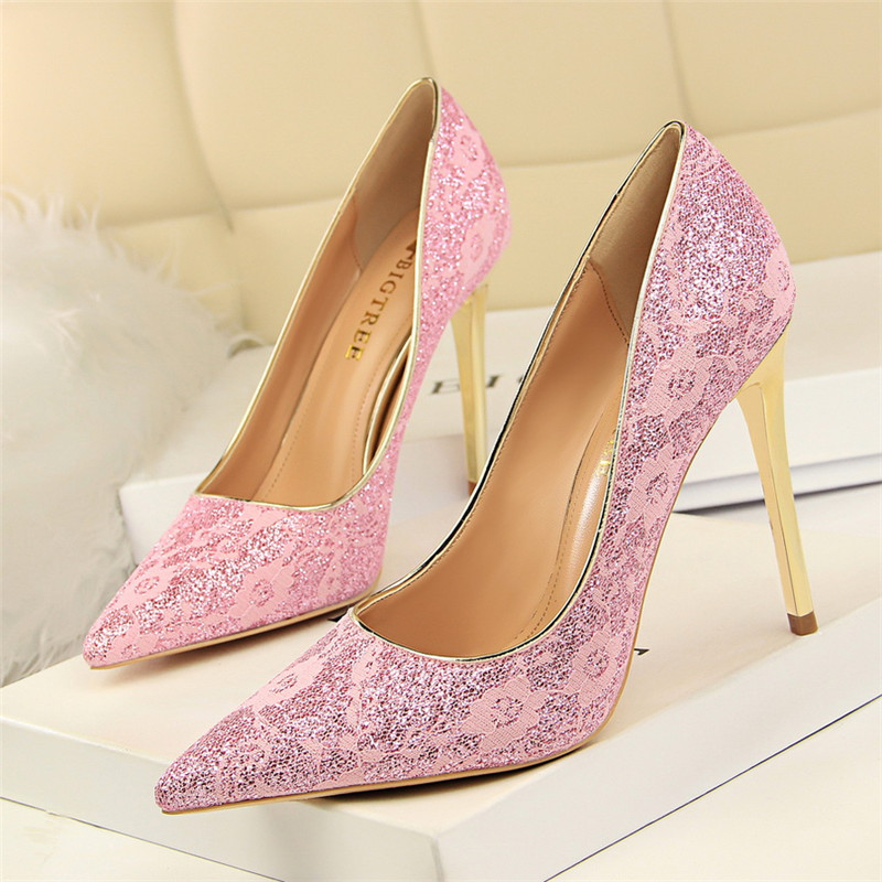 Bling Women High Heels Sexy Lace Glitter Sequined Cloth Shoes Pointed Toe Mesh Pump Golden Embroider Party Wedding Thin Heels
