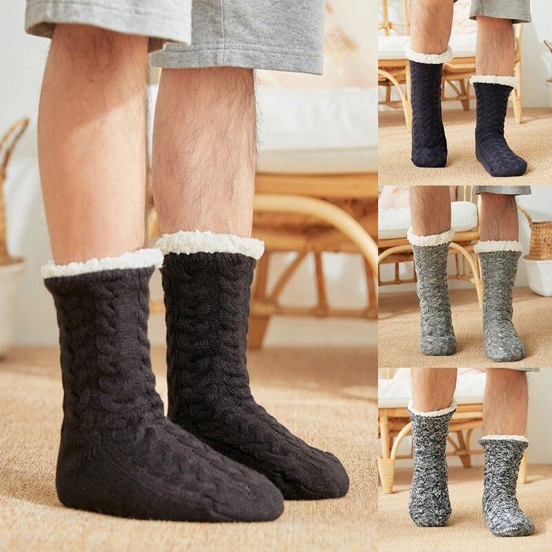 Носки мужские зимние для пола, термоэластичные мягкие утепленные плюшевые носки черного цвета, Нескользящие длинные хлопковые меховые Тапочки|Мужские носки|   | АлиЭкспресс