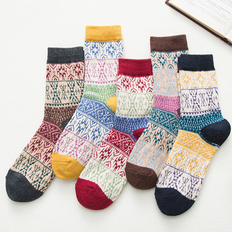 HSS New 5Pairs Women Winter Socks Warm Woolen Girls Sox High Quality Cotton Casual Harajuku Totem