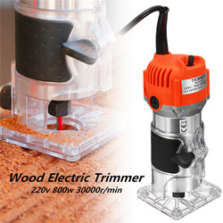 800W Woodworking Electric Trimmer 30000r/min Collet 6.35mm Wood Milling Engraving Slotting Trimming Carving Machine Router