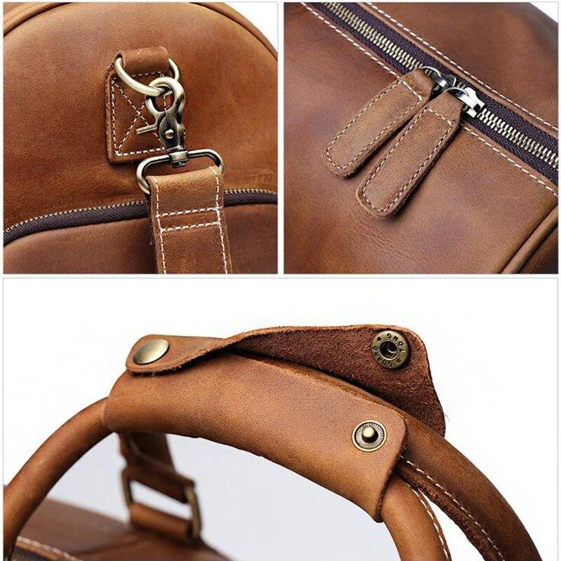 100% sac à main en cuir véritable sacs de voyage qualité hommes polochon bagages grande capacité avec bandoulière Crazy Horse Leahter sac - 6