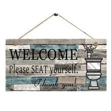 Hogar cocina comedor bar decoración impreso placa de madera cartel colgante de pared bienvenida madera vintage baño señal shabby chic ED