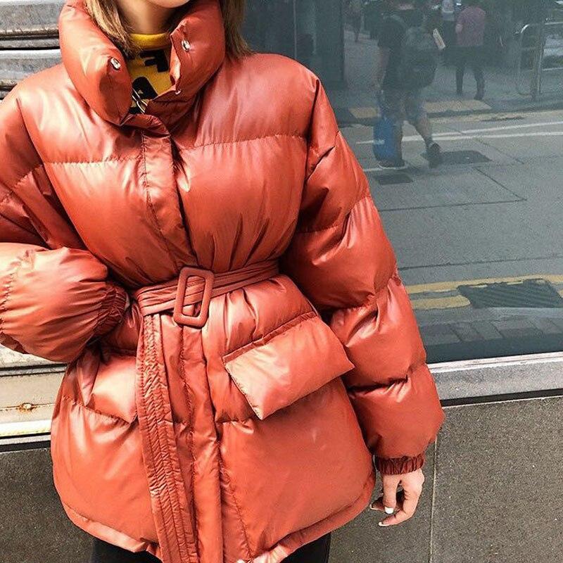 Высокая улица осень зима парка пальто для женщин тонкий пояс полный рукав корейский Толстый теплый хлопок Мягкий манто Femme Hiver верхняя одежда on AliExpress