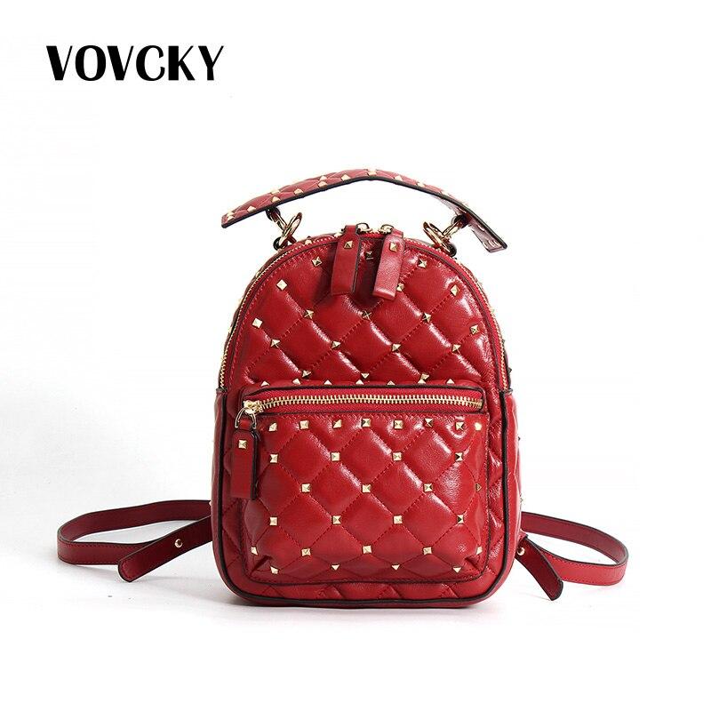 Rivet femmes sac à dos en cuir véritable véritable peau de mouton sac à dos de luxe femmes sacs Designer Mini sac à dos pour filles Mochilas Feminina