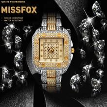 MISSFOX Luxury Brand Men Wrist Watch Diamonds Japan Quartz Movement Roman Numbers Dial Hardlex Water Resistant Male Watch