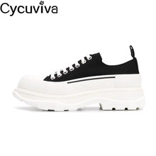 Canvas-Sneakers Flat-Shoes Runway Spring Men Platform Thick-Bottom Runners Male Lace-Up