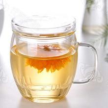 500 мл термостойкий стеклянный фильтр из трех частей чайная чашка с крышкой прозрачная ручка стеклянный чайный набор