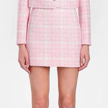 Jakość nowa wysoka moda 2021 projektant spódnica damska wełna mieszanki kolory Plaid Tweed Mini spódnica tanie i dobre opinie COTTON Poliester SE (pochodzenie) Osób w wieku 18-35 lat Ołówek NONE GS1102 Naturalne High Street Powyżej kolana Mini