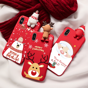 Christmas Cartoon Deer Case For iPhone 11 12 Pro XS Max XR X SE 2 2020 Silicone Cover For iphone 7 8 6 6S Plus 7Plus 5 Case Bear