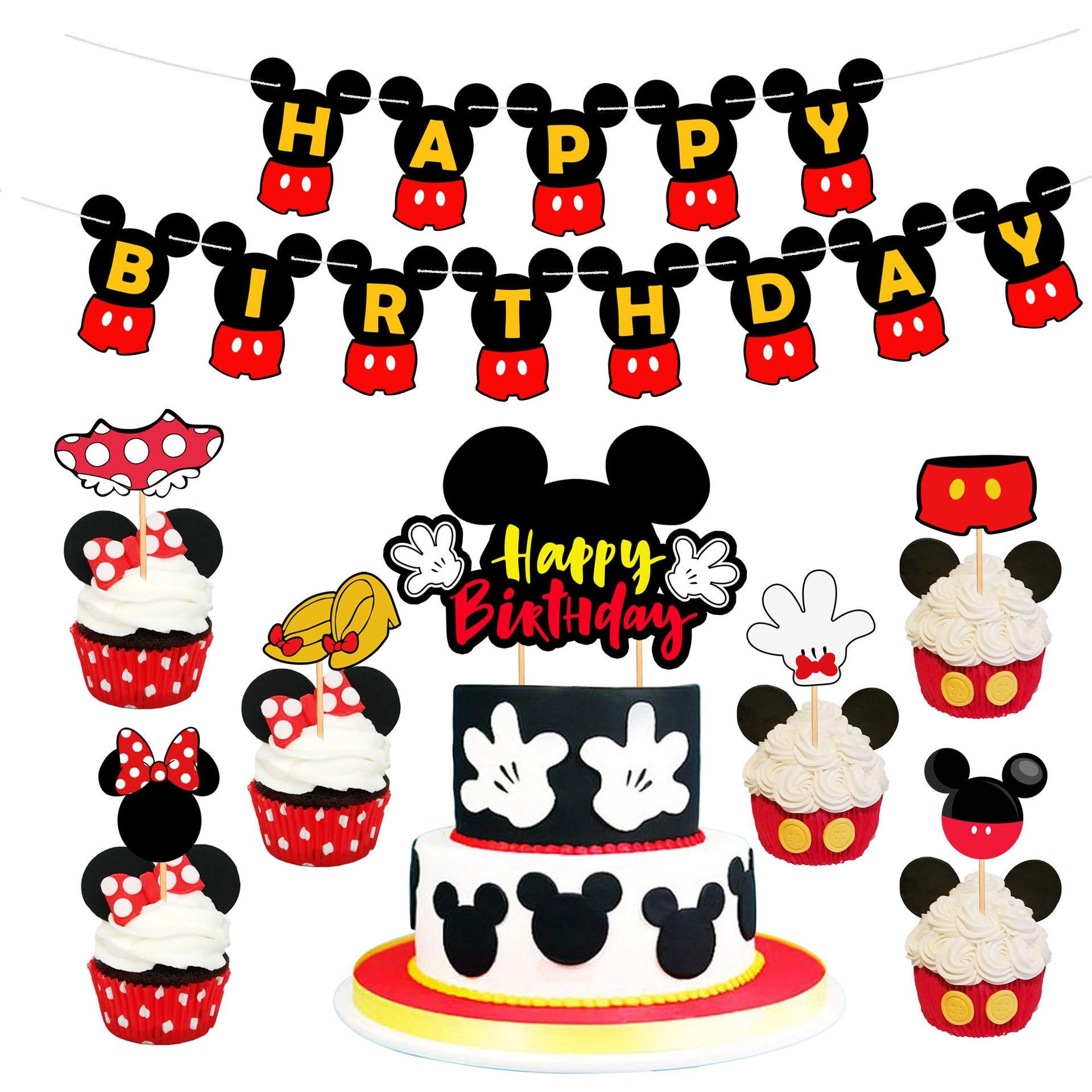 С Микки-Маусом тема Минни Мауса детский день рождения вечерние украшения торта баннер комплект Baby Shower поставки шаров из латекса воздушный ...