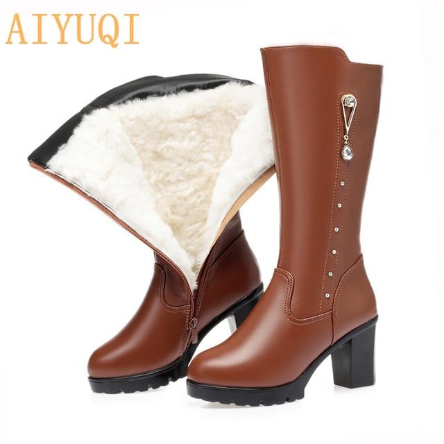 AIYUQIฤดูหนาวรองเท้าผู้หญิงรองเท้าหนังแท้รองเท้าหนังผู้หญิงรองเท้าผ้าขนสัตว์รองเท้าบู๊ตหิมะกันน้ำอุ่นหญิงHigh Boots