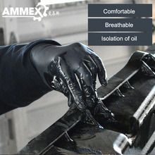 AMMEX Disposable Work Gloves 100pcs/Box Salon Tattoo Laboratory Chemistry Protective Nitrile Non-Slip  Black Waterproof Boxed