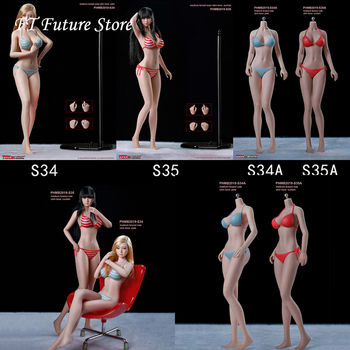In Stock PHMB2019-S34/S35 1/6 Female Girl Super-Flexible 12 Seamless Body Action Figure Toys with Head Stand Pale/Skin Skin 1 6 ph sexy female super flexible seamless body medium breast suntan pale action figure doll toys without head for kumik head