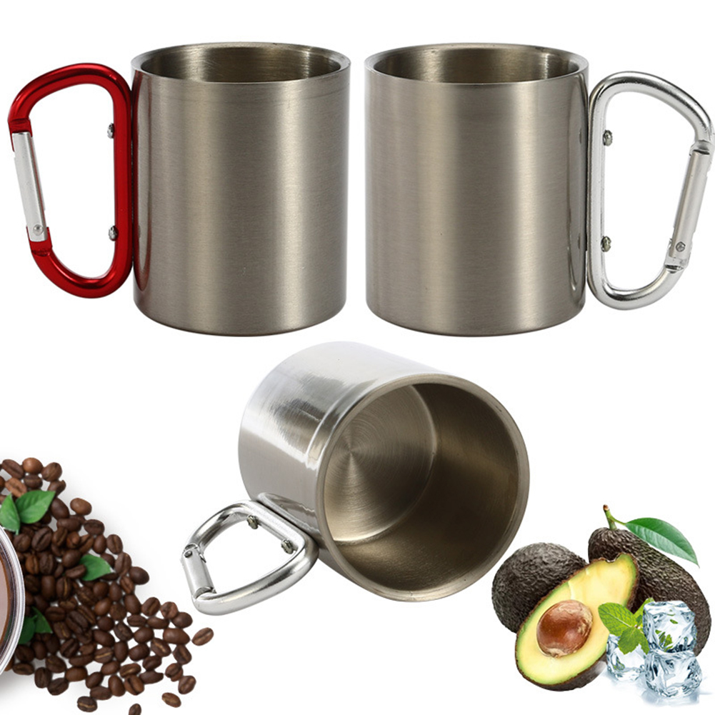 300ML Copper Coffee Mug Drinking Cup with Carabiner Handle for Party Kitchen Bar Drinkware Outdoor Camping Cups Picnic Tableware