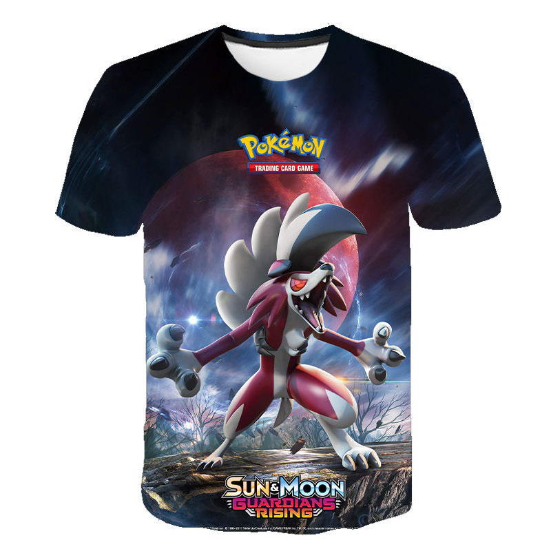 The latest Pokémon series 3D printed T-shirt boy girl wild face casual O-neck short sleeve Cosplay funny T-shirt Pokemon 2