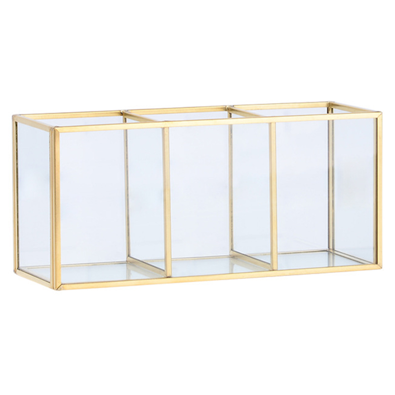 Nordic Gold Grid Glass Flip Storage Tank Box Luxury Modern Cosmetics Storage Box Container Micro-Landscape Flower Room B