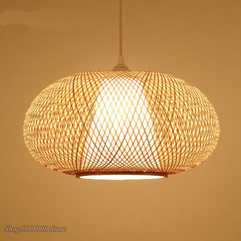 Bamboo Wicker Rattan Lantern Pendant Lights Southeast Asia LED Pendant Lamp Modern Tea Room Lamp Nordic Japanese Tatami Lamps