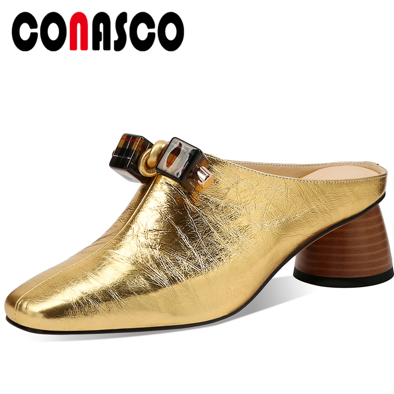 CONASCO Women Sandals Slippers Genuine Leather Fashion Concise String Bead Pumps Mules Summer New Thick Heels Casual Shoes Woman