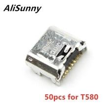 AliSunny 50 adet USB bağlantı noktası Dock samsung için konektör Tab A 10.1 SM T580 T585 T587 şarj şarj fiş parçaları