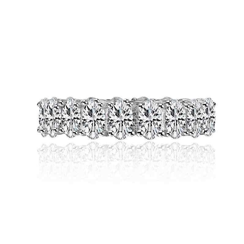 Vecalon หญิง Eternity แหวน 925 เงินสเตอร์ลิงเครื่องประดับ Emeald ตัด AAAAA cz แหวนสำหรับสตรี Bijou
