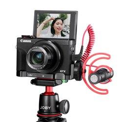 UURig C-G7X Vlog L płyta do Canon G7X Mark III Metal Vlogging mocowanie płyty z zimnym butem do mikrofonu LED Light