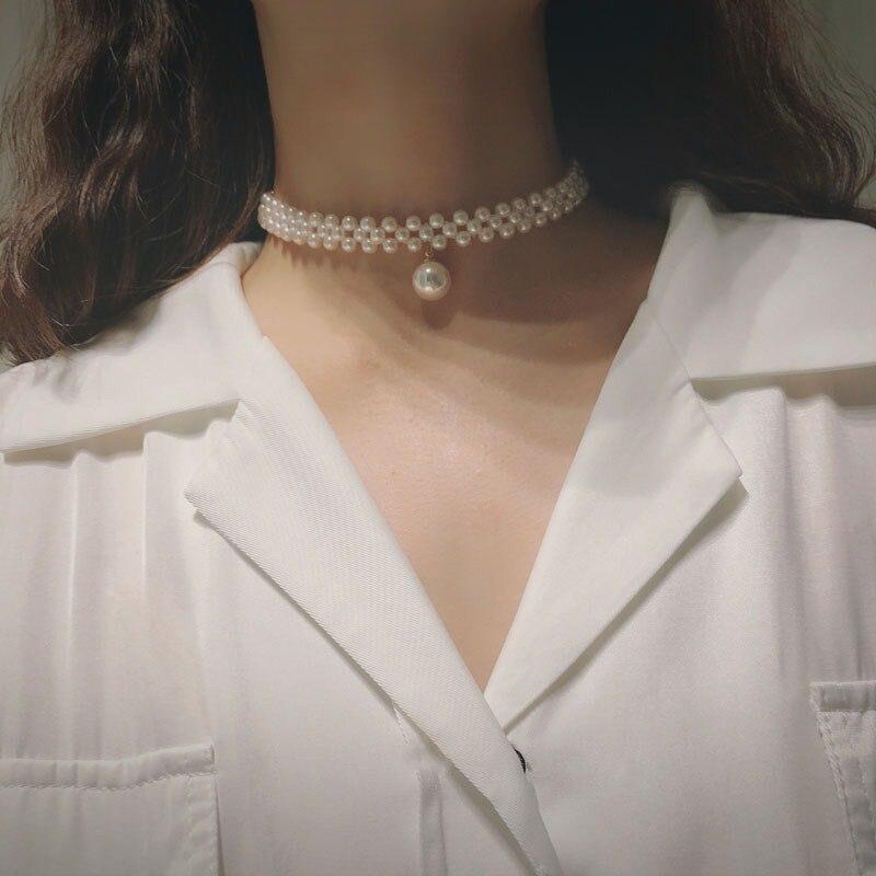 Collar con colgante de plata de ley 925 y perlas de agua dulce, Gargantilla corta, cadena fina