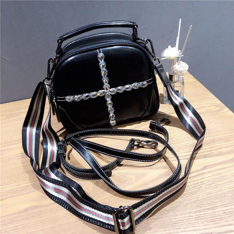 Женские Наплечные мини сумки женские сумки с кристаллами сумка из воловьей кожи сумки с цепочкой круглые черные 2019 новые женские маленькие сумки через плечо