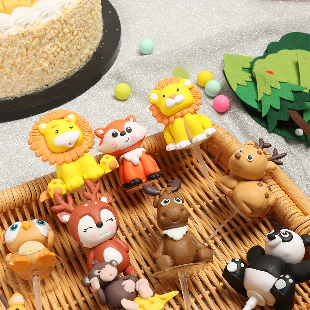 Prime 1Pcs Birthday Decoration Monkey Giraffe Tiger Lion Cupcake Toppers Funny Birthday Cards Online Alyptdamsfinfo