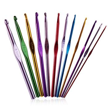 12 sztuk metalowy uchwyt szydełko zestaw drutów do robienia na drutach aluminium bambusowe igły do szycia 12 sztuk zestaw dziewiarski Croche Kit tanie i dobre opinie CN (pochodzenie) Szycie ręczne Crochet Hook Knitting Needles